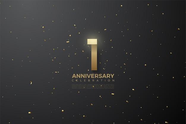 1 ° anniversario con numeri marroni dorati su sfondo nero con macchie dorate.
