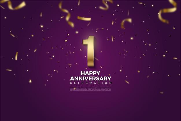 1 ° anniversario con numeri d'oro su sfondo viola e nastri d'oro che cadono.