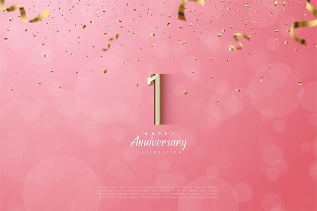 1 ° anniversario con lussuosi numeri bordati d'oro.