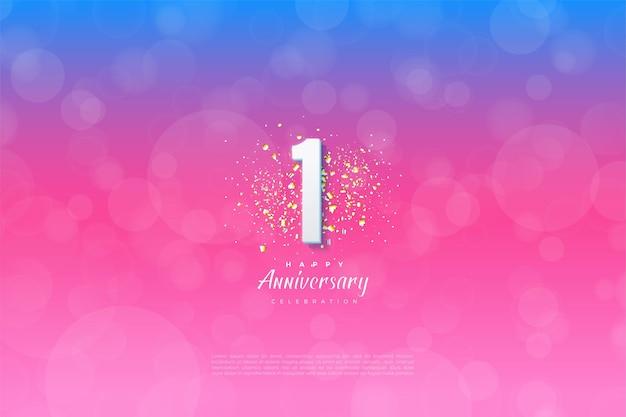 1 ° anniversario con illustrazione del numero davanti a glitter