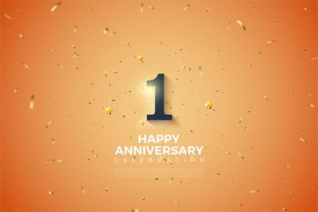 1 ° anniversario con numeri sfumati in bianco tenue.