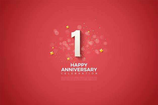 1 ° anniversario con numeri bianchi spessi e leggermente ombreggiati su sfondo rosso sangue.