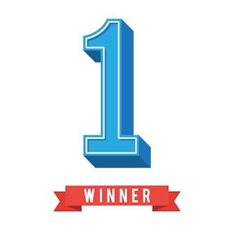 1 ° simbolo con nastro vincitore