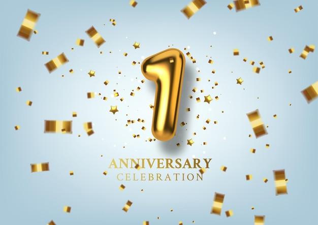 Celebrazione del 1 ° anniversario numero sotto forma di palloncini dorati.