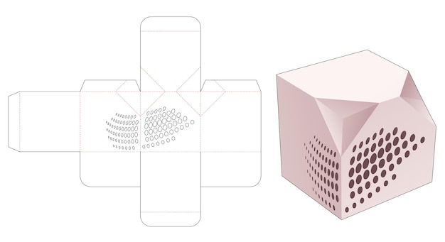 Scatola regalo quadrata con 2 angoli smussati con modello fustellato mandala stencil