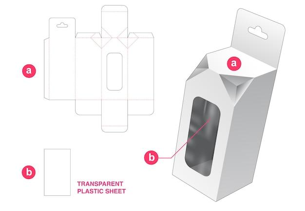 Scatola con 2 angoli smussati e finestra con sagoma fustellata in foglio di plastica trasparente