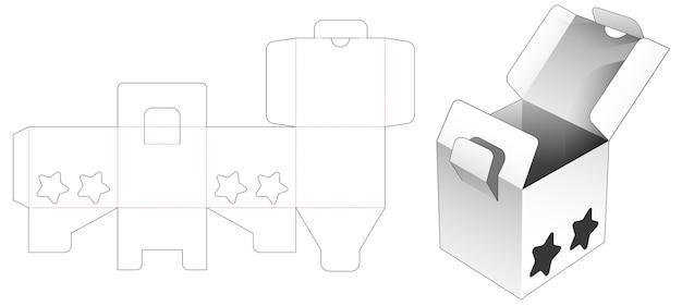 Scatola a 2 ribaltine e punta bloccata con sagoma fustellata per finestra a forma di 2 stelle