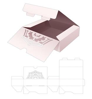 Scatola per torta a 2 ribaltine con modello fustellato a forma di mandala nascosta