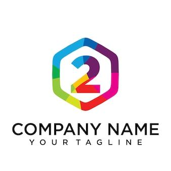 Elemento del modello di disegno esagonale dell'icona del logo di 2 lettere