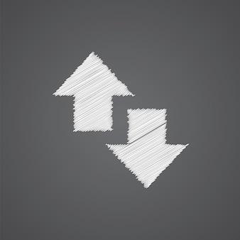 2 freccia laterale schizzo logo icona doodle isolato su sfondo scuro