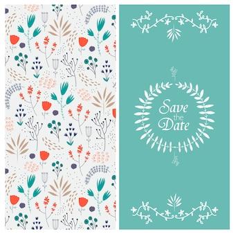 2 lati sfondo floreale con fiori disegnati a mano