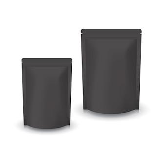Sacchetto a chiusura lampo in piedi nero in bianco di 2 dimensioni per cibo o prodotto sano. isolato su sfondo bianco con ombra. pronto per l'uso per il design della confezione.