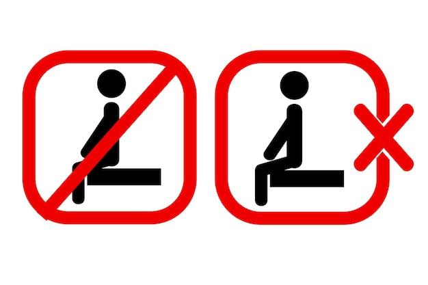 2 stile semplice vettore segno di divieto, non sedersi qui, isolato su bianco