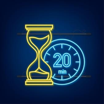 I 20 minuti, icona al neon di vettore del cronometro. icona del cronometro in stile piatto, timer su sfondo colorato. illustrazione vettoriale.