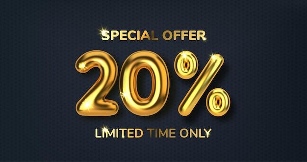 20 di sconto sulla vendita di promozione fatta di palloncini d'oro 3d realistici numero sotto forma di palloncini dorati