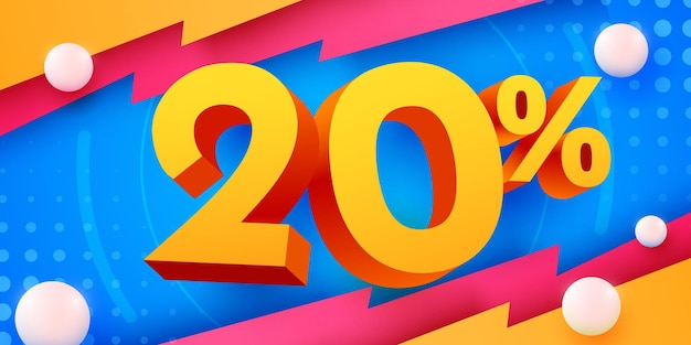 Banner di vendita creativa di sconto del 20% di sconto