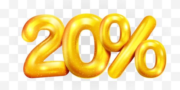 20 percento di sconto sul simbolo di mega vendita di palloncini d'oro di sconto