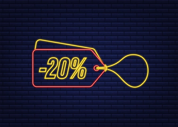 20% di sconto sconto vendita tag neon sconto prezzo offerta tag