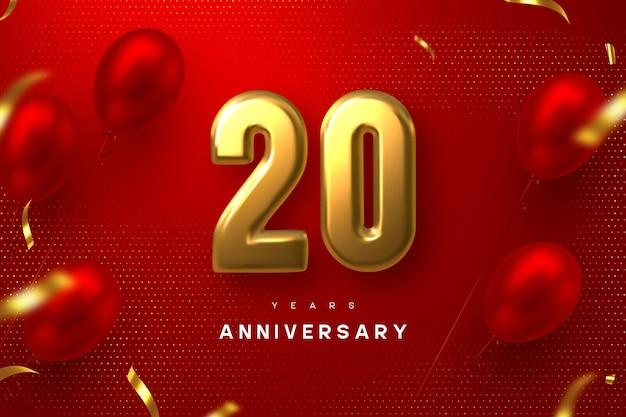 Bandiera di celebrazione di anniversario di 20 anni. 3d metallico dorato numero 20 e palloncini lucidi con coriandoli su sfondo rosso maculato.