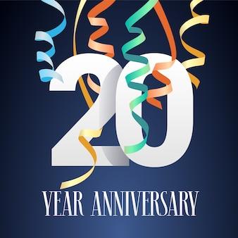 Disegno del modello di celebrazione di anniversario di 20 anni