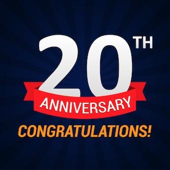 Celebrazione di anniversario di 20 anni con nastro rosso