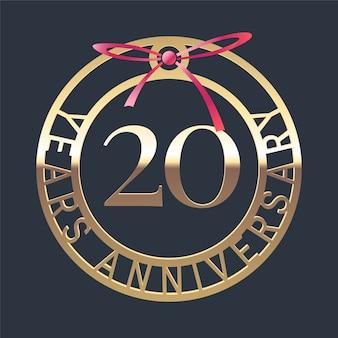 Medaglia d'oro anniversario di 20 anni e nastro rosso