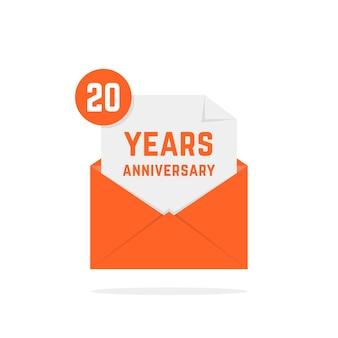 Icona dell'anniversario di 20 anni nella lettera arancione. concetto di testo festivo, posta in arrivo, avviso divertente, memoriale, certificato, successo, e-mail, sms. design di poster grafico logotipo moderno stile piatto su sfondo bianco