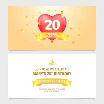 Illustrazione vettoriale della carta di invito per l'anniversario di 20 anni