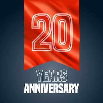 Icona di vettore di 20 anni anniversario, logo. elemento di design con bandiera rossa per la decorazione per il 20 ° anniversario