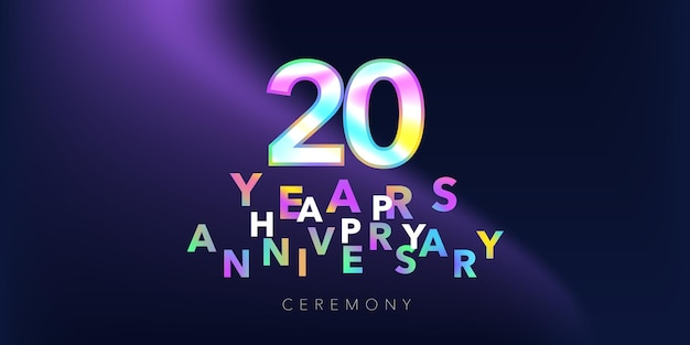 Logo vettoriale di 20 anni anniversario, icona. elemento di design con numero e testo per biglietto di auguri o banner per il 20° anniversario