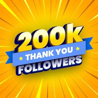 Banner di 200000 seguaci con nastro blu