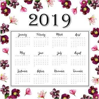 Calendario annuale 2019 con acquerello floreale