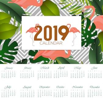Disegno del fenicottero del calendario 2019