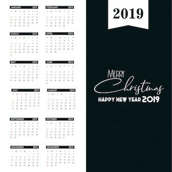 Modello di calendario 2019