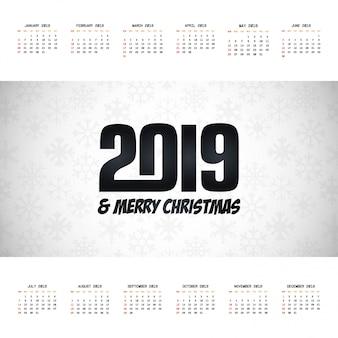 2019 vettore di progettazione del calendario di natale
