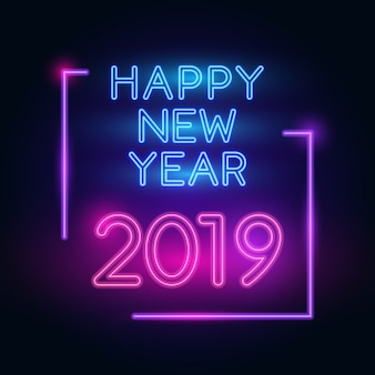 2019 buon anno. testo al neon con illuminazione brillante.