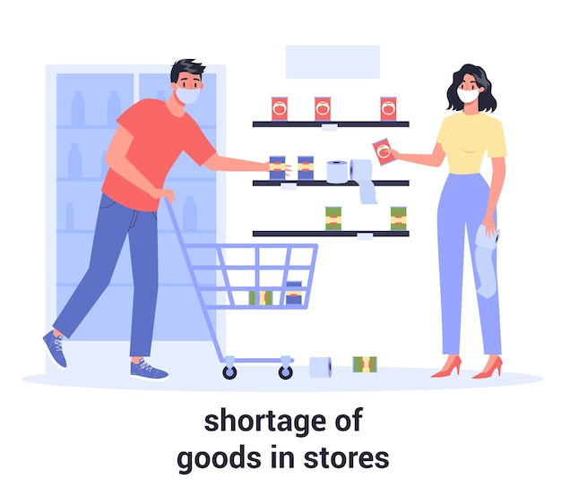 2019-ncov, impatto globale della pandemia. coronavirus panic shopping. carenza di merci nei negozi. persone terrorizzate con carrelli che comprano tutti i generi alimentari.