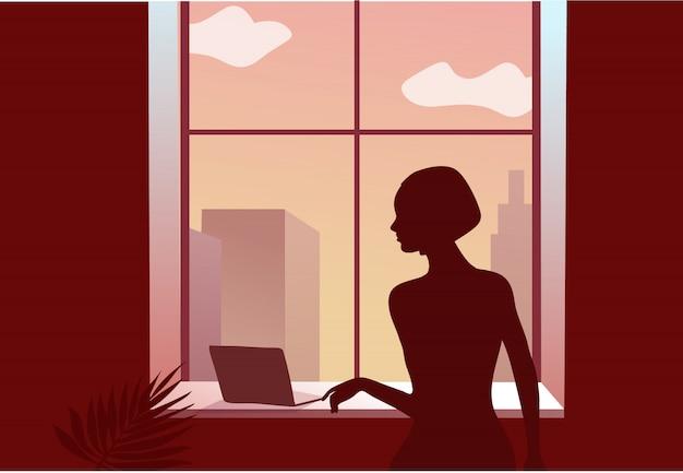 Quarantena 2019-ncov. donna triste vicino alla finestra. tipo di blocco a casa. il computer portatile. concetto di lavoro a distanza. panon coronavirus. illustrazione isolata della persona ammalata.
