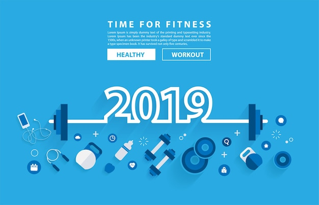 Alfabeto di tipografia di allenamento di concetto di fitness anno nuovo 2019
