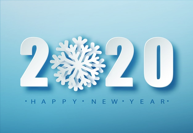 2020 tipografia di natale blu. sfondo stagione invernale con la neve che cade. modello del manifesto di natale e capodanno. saluti di festa. .