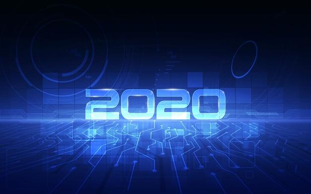 Celebrazione del 2020 con lo sfondo della tecnologia futuristica cyber