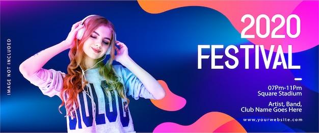 Modello di banner festival 2020 per musica e feste dj Vettore Premium