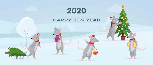 2020 banner orizzontale di felice anno nuovo
