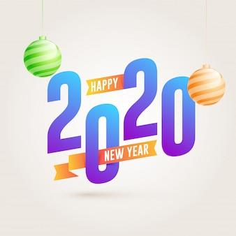 2020, testo di felice anno nuovo con palline appese su bianco