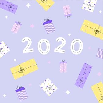 Biglietto di auguri di capodanno 2020 con scatole regalo. illustrazione piatta.
