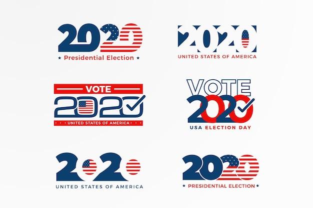 Collezione di logo delle elezioni presidenziali americane 2020