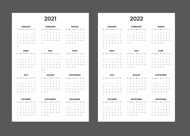 Calendario 2021-2020 - illustrazione. modello. la settimana del mock up inizia domenica Vettore Premium