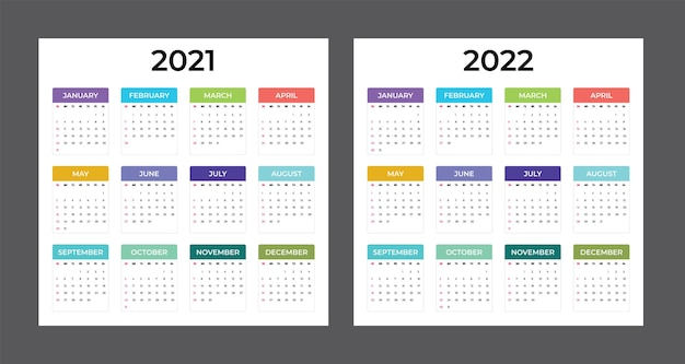 Calendario 2021-2022 - illustrazione. modello. modello. calendario vettoriale colorato