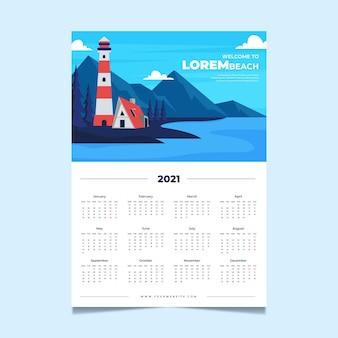 2021 concetto di modello di calendario