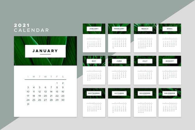 2021 modello di calendario design